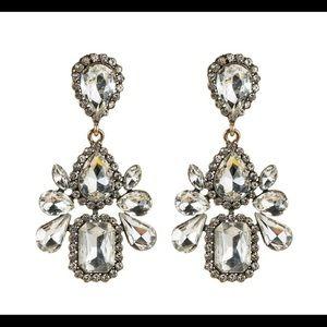 White Rhinestone Chandelier Earrings
